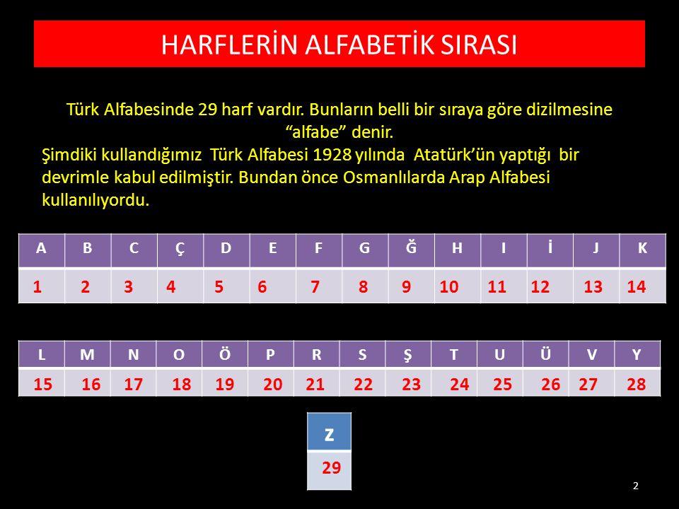 HARFLERİN ALFABETİK SIRASI