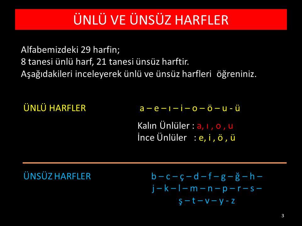 ÜNLÜ VE ÜNSÜZ HARFLER Alfabemizdeki 29 harfin;
