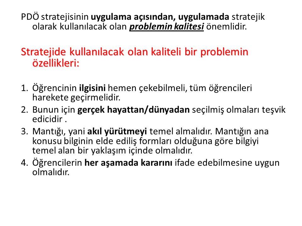 Stratejide kullanılacak olan kaliteli bir problemin özellikleri: