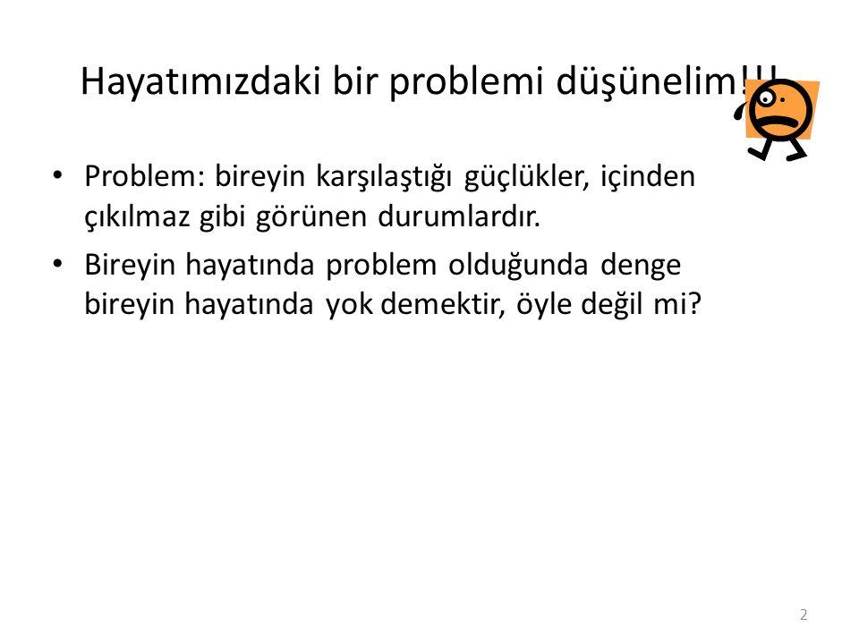 Hayatımızdaki bir problemi düşünelim!!!