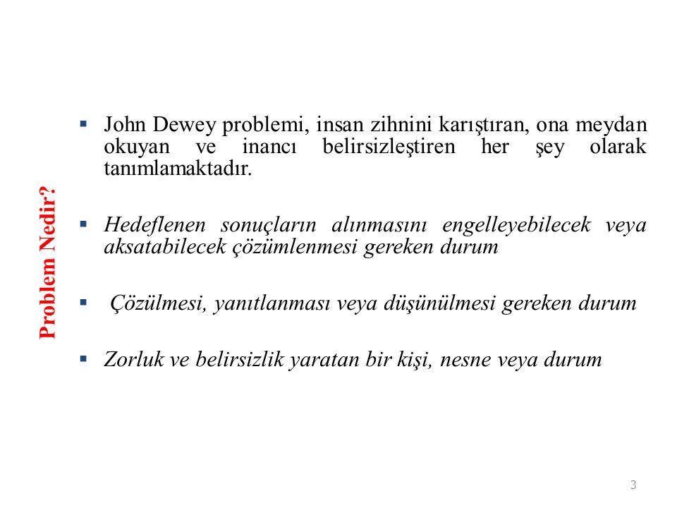 John Dewey problemi, insan zihnini karıştıran, ona meydan okuyan ve inancı belirsizleştiren her şey olarak tanımlamaktadır.