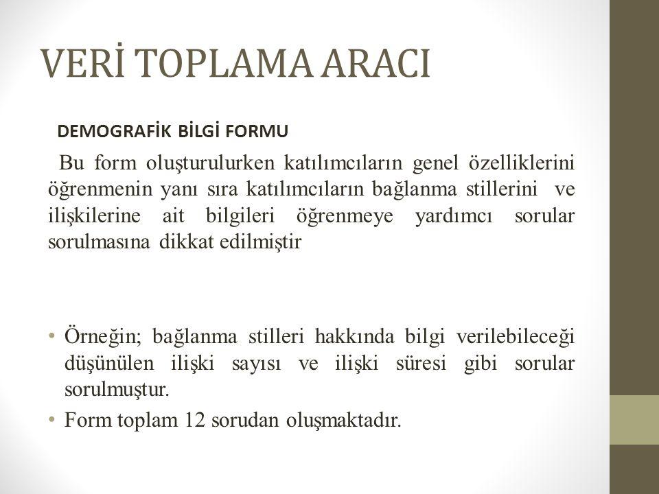 VERİ TOPLAMA ARACI DEMOGRAFİK BİLGİ FORMU.