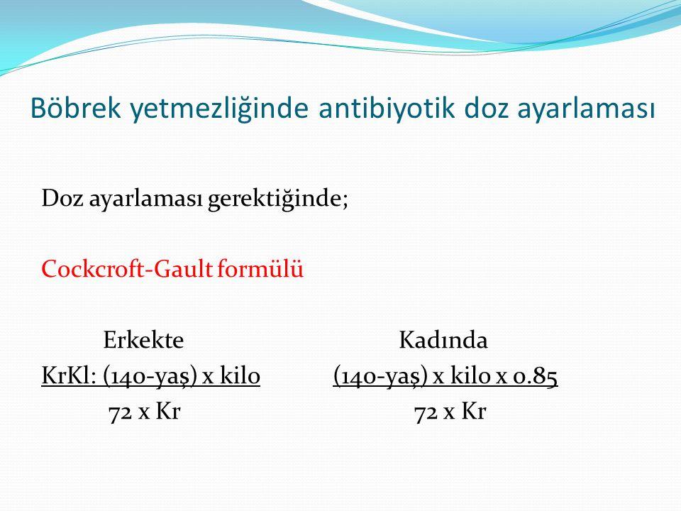 Böbrek yetmezliğinde antibiyotik doz ayarlaması