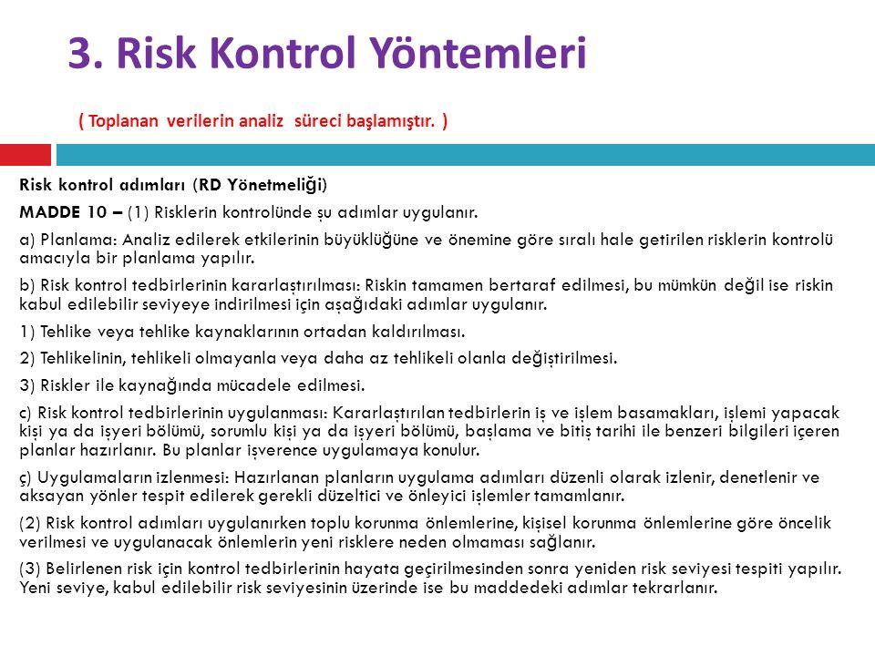 3. Risk Kontrol Yöntemleri ( Toplanan verilerin analiz süreci başlamıştır. )
