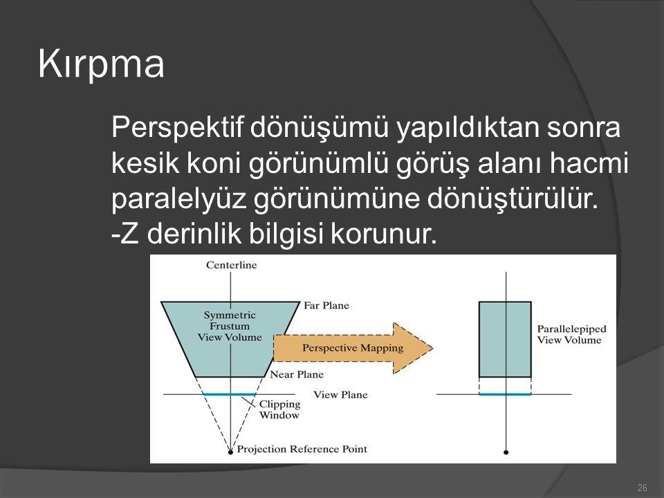 Kırpma Perspektif dönüşümü yapıldıktan sonra kesik koni görünümlü görüş alanı hacmi paralelyüz görünümüne dönüştürülür.