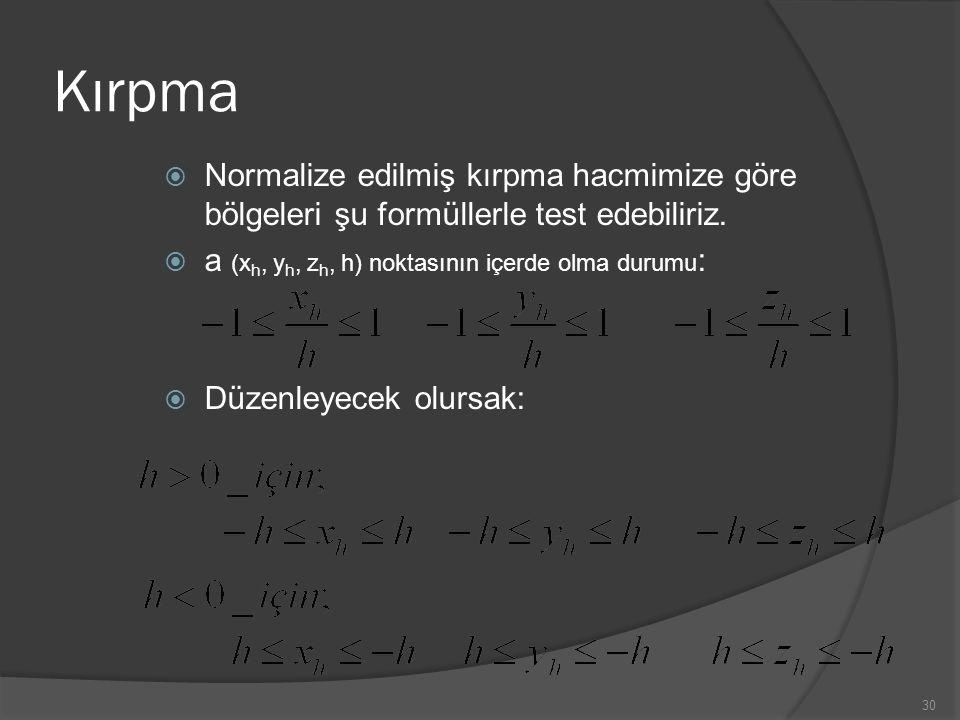 Kırpma Normalize edilmiş kırpma hacmimize göre bölgeleri şu formüllerle test edebiliriz. a (xh, yh, zh, h) noktasının içerde olma durumu: