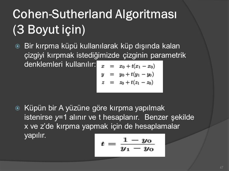 Cohen-Sutherland Algoritması (3 Boyut için)