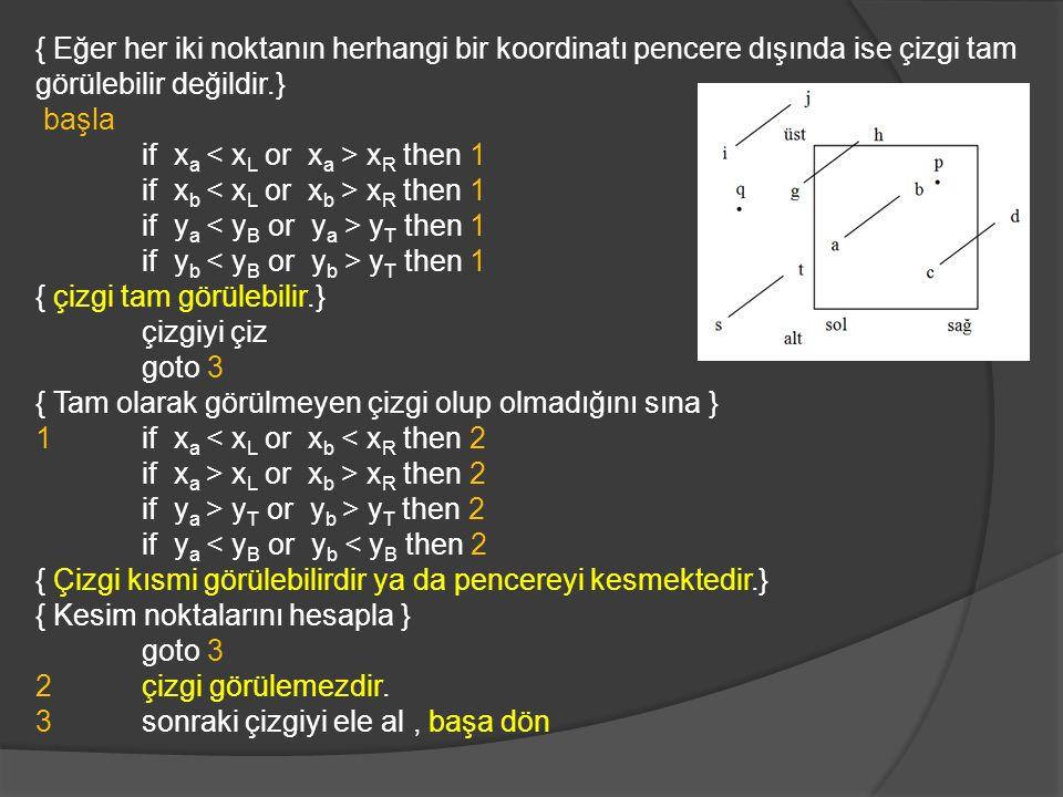 { Eğer her iki noktanın herhangi bir koordinatı pencere dışında ise çizgi tam görülebilir değildir.}
