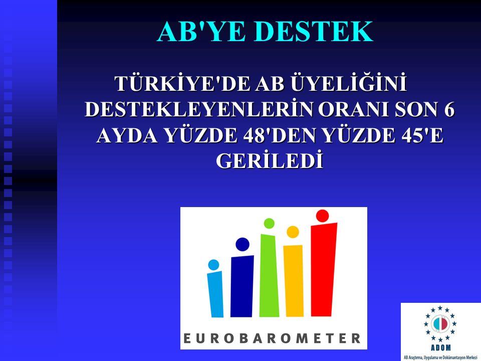 AB ye destek Türkİye de AB üyelİğİnİ destekleyenlerİn oranI son 6 ayda yüzde 48 den yüzde 45 e gerİledİ.