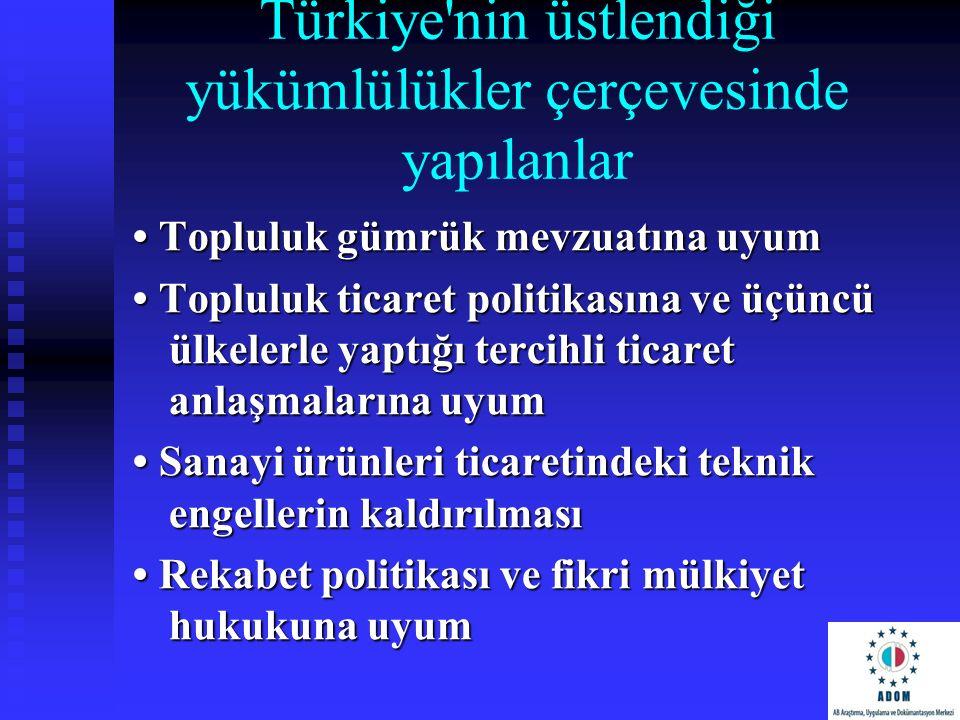 Türkiye nin üstlendiği yükümlülükler çerçevesinde yapılanlar