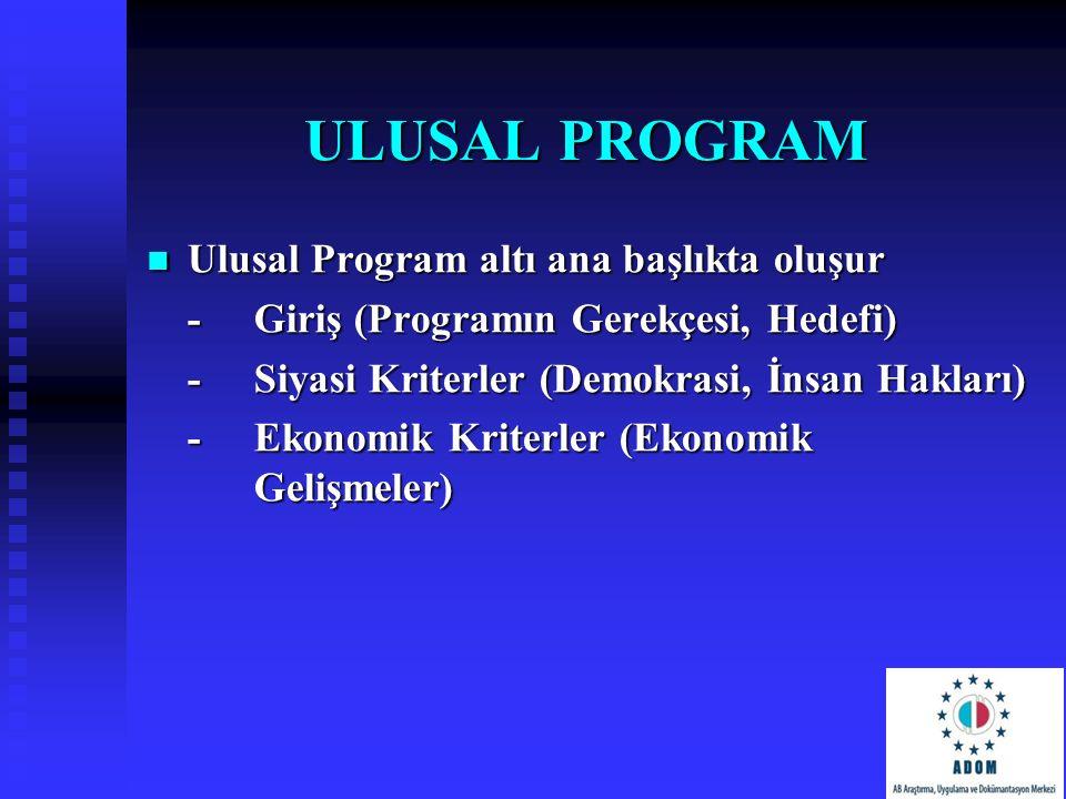 ULUSAL PROGRAM Ulusal Program altı ana başlıkta oluşur