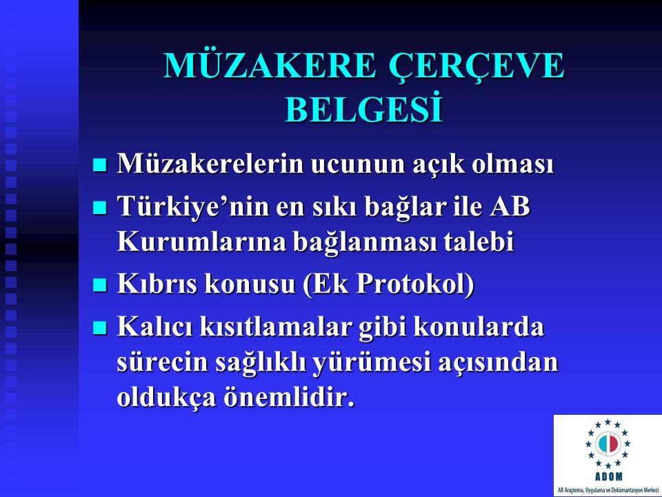 MÜZAKERE ÇERÇEVE BELGESİ