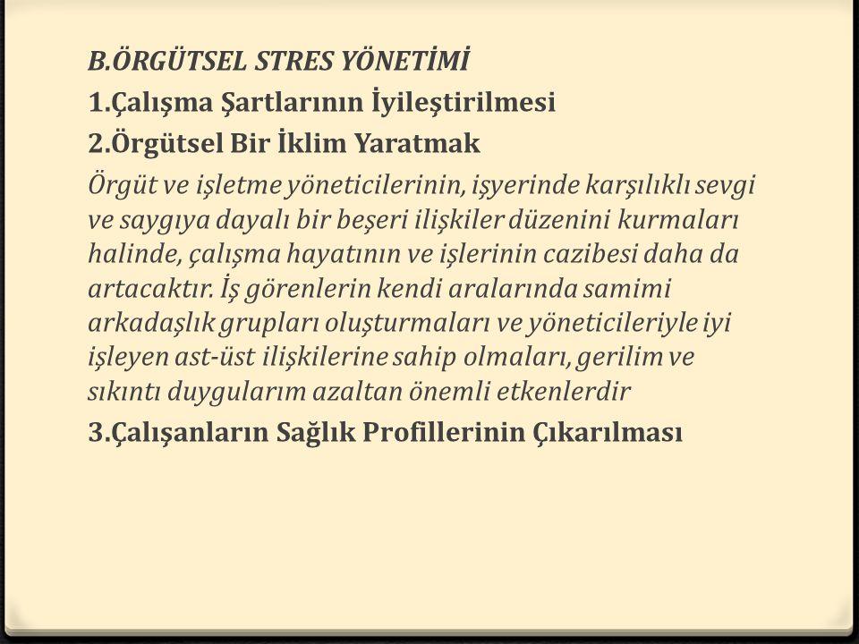 B. ÖRGÜTSEL STRES YÖNETİMİ 1. Çalışma Şartlarının İyileştirilmesi 2