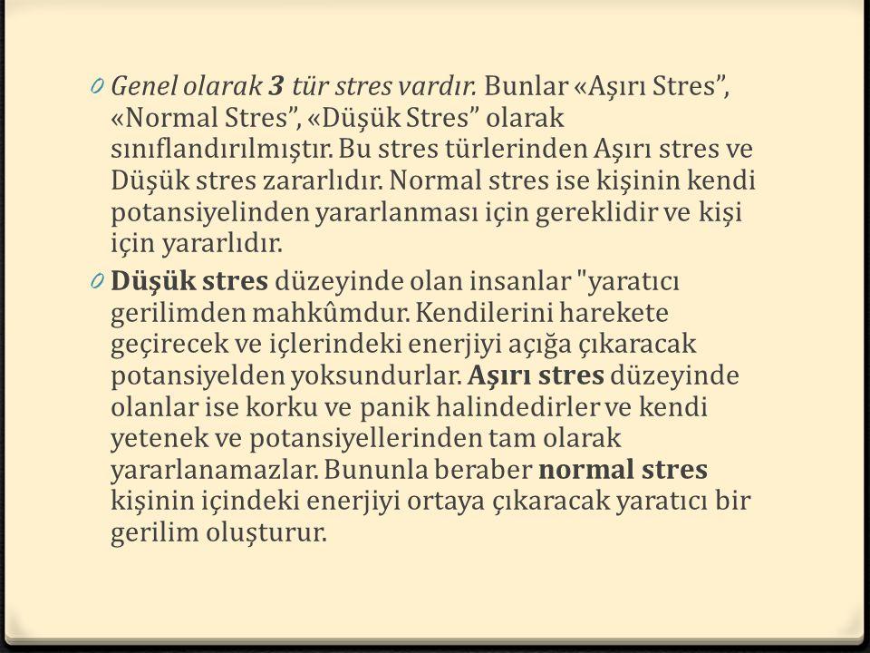 Genel olarak 3 tür stres vardır