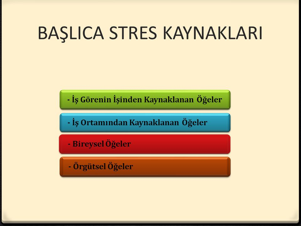 BAŞLICA STRES KAYNAKLARI