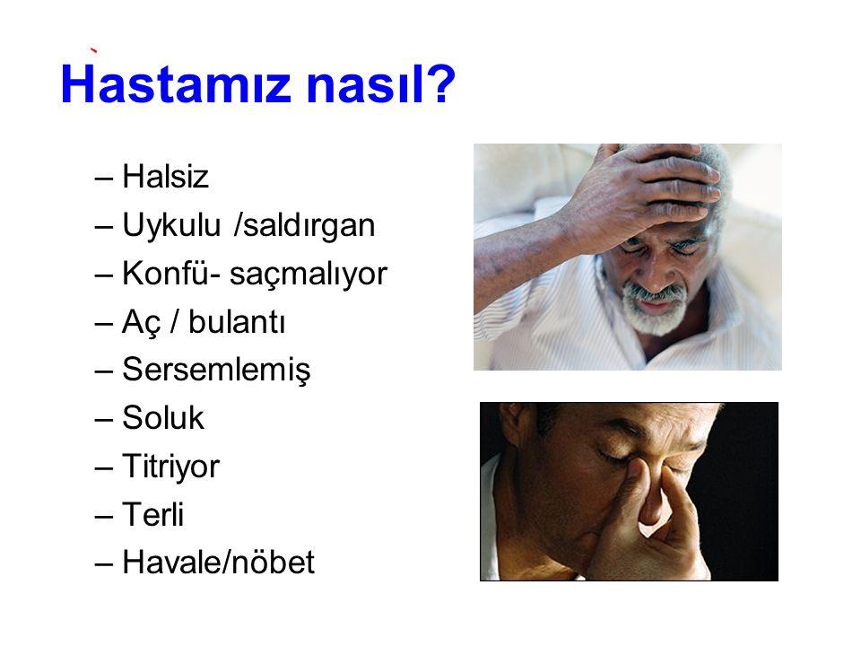 Hastamız nasıl Halsiz Uykulu /saldırgan Konfü- saçmalıyor
