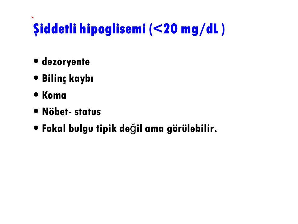 Şiddetli hipoglisemi (<20 mg/dL )
