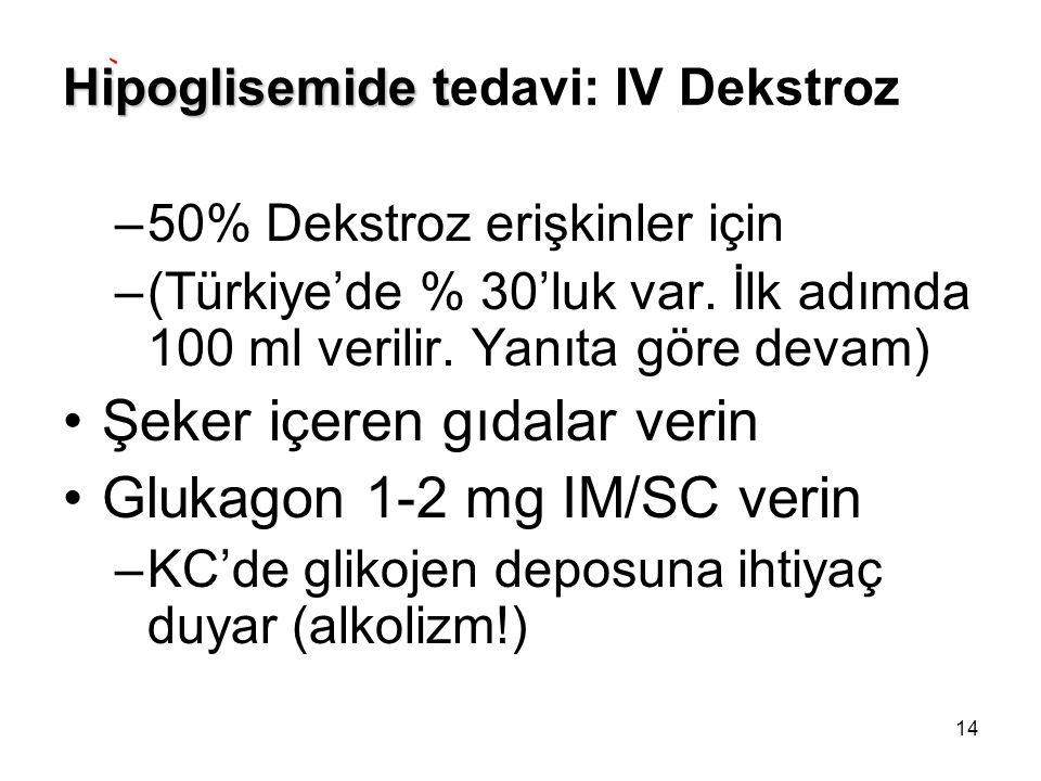 Hipoglisemide tedavi: IV Dekstroz