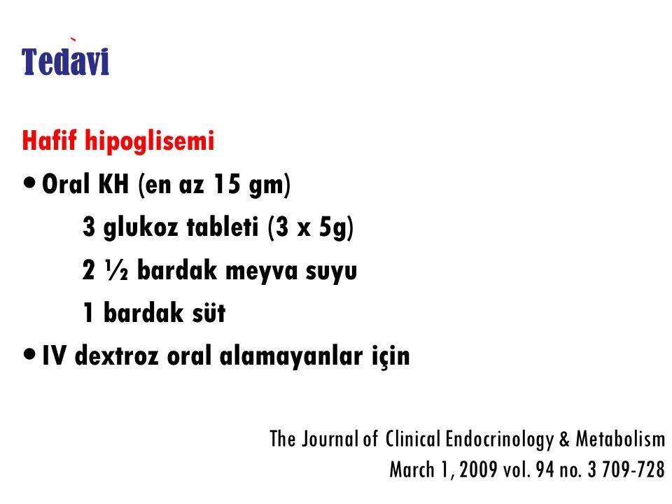 Tedavi Hafif hipoglisemi Oral KH (en az 15 gm)