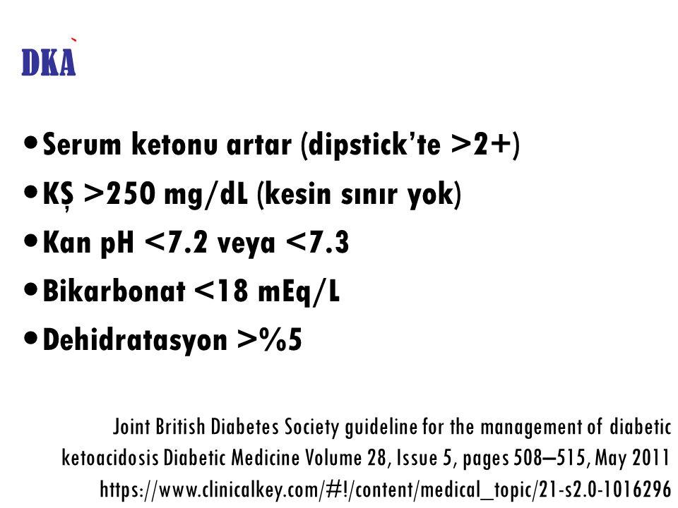 Serum ketonu artar (dipstick'te >2+)