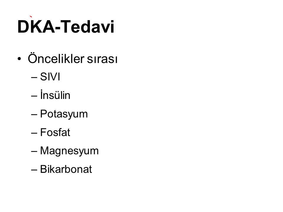 DKA-Tedavi Öncelikler sırası SIVI İnsülin Potasyum Fosfat Magnesyum