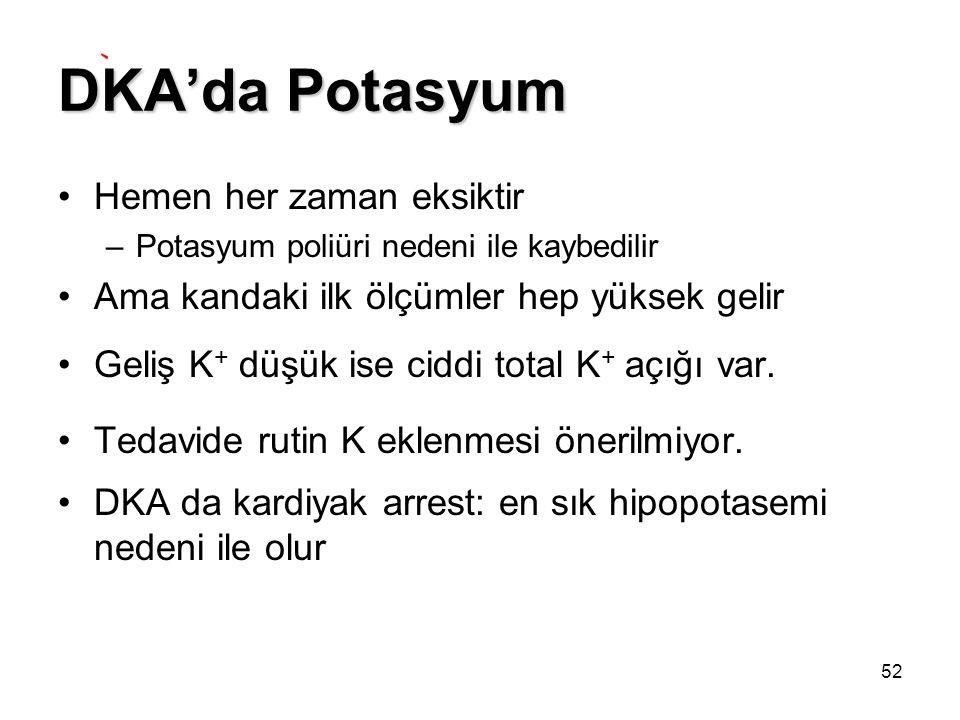 DKA'da Potasyum Hemen her zaman eksiktir