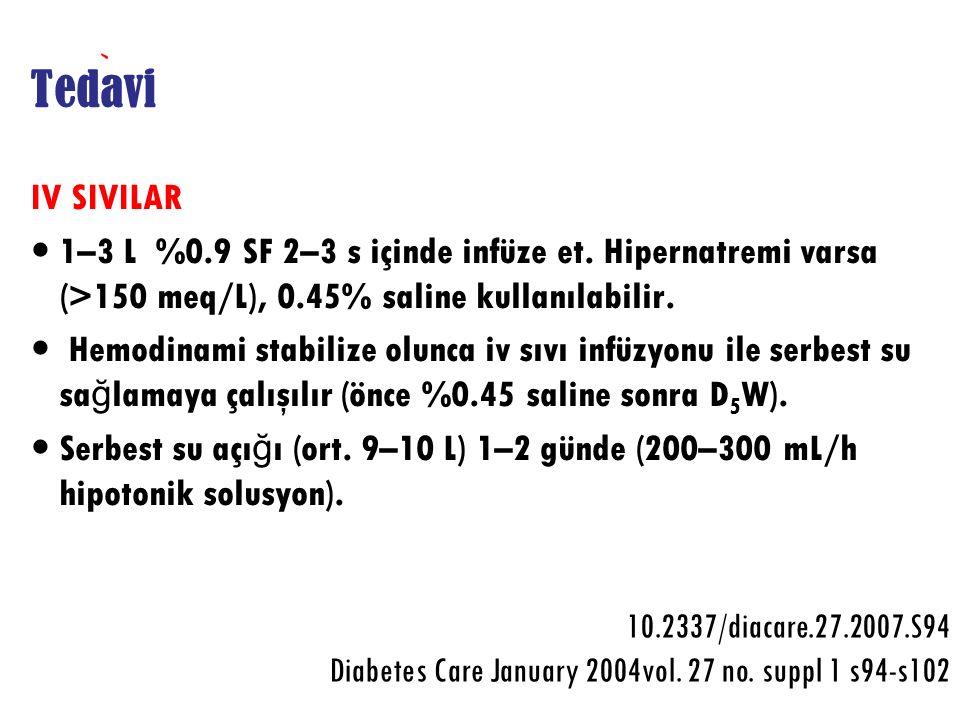 Tedavi IV SIVILAR. 1–3 L %0.9 SF 2–3 s içinde infüze et. Hipernatremi varsa (>150 meq/L), 0.45% saline kullanılabilir.