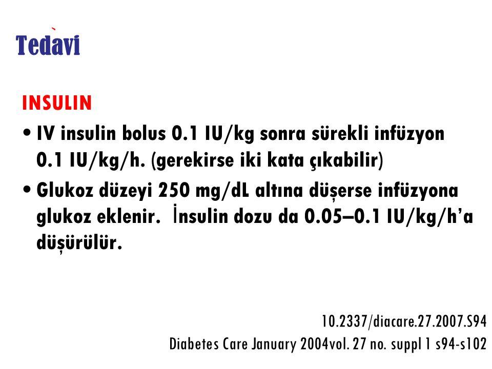 Tedavi INSULIN. IV insulin bolus 0.1 IU/kg sonra sürekli infüzyon 0.1 IU/kg/h. (gerekirse iki kata çıkabilir)