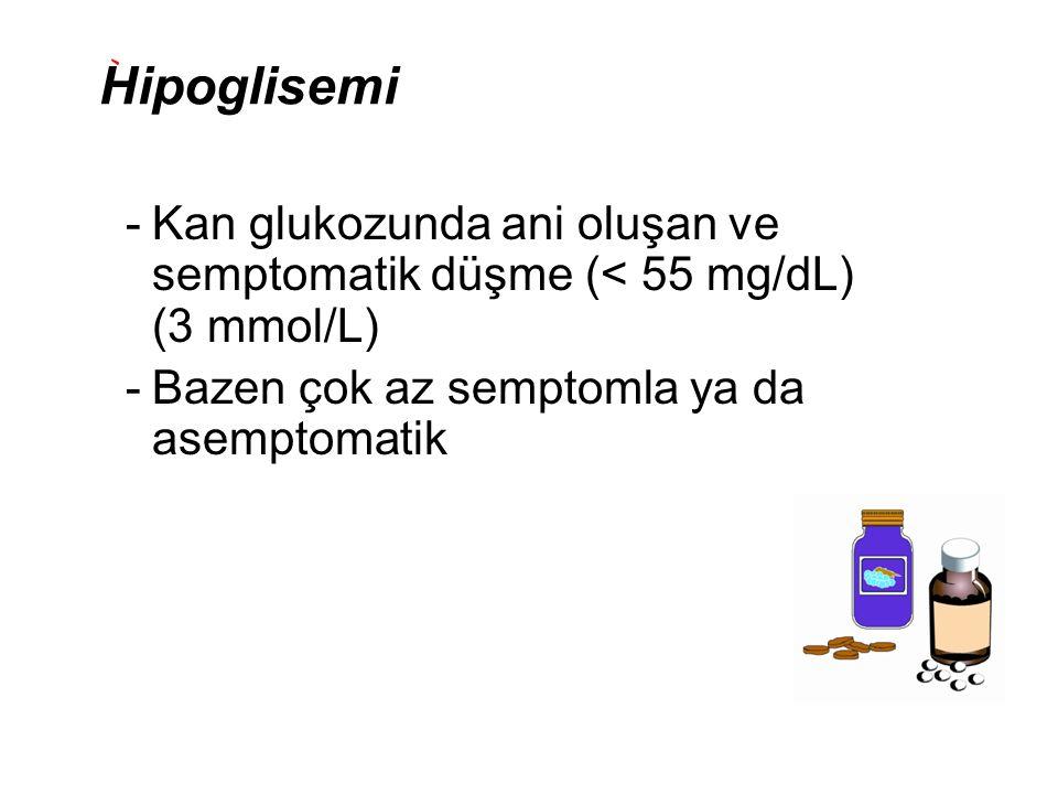 Hipoglisemi Kan glukozunda ani oluşan ve semptomatik düşme (< 55 mg/dL) (3 mmol/L) Bazen çok az semptomla ya da asemptomatik.