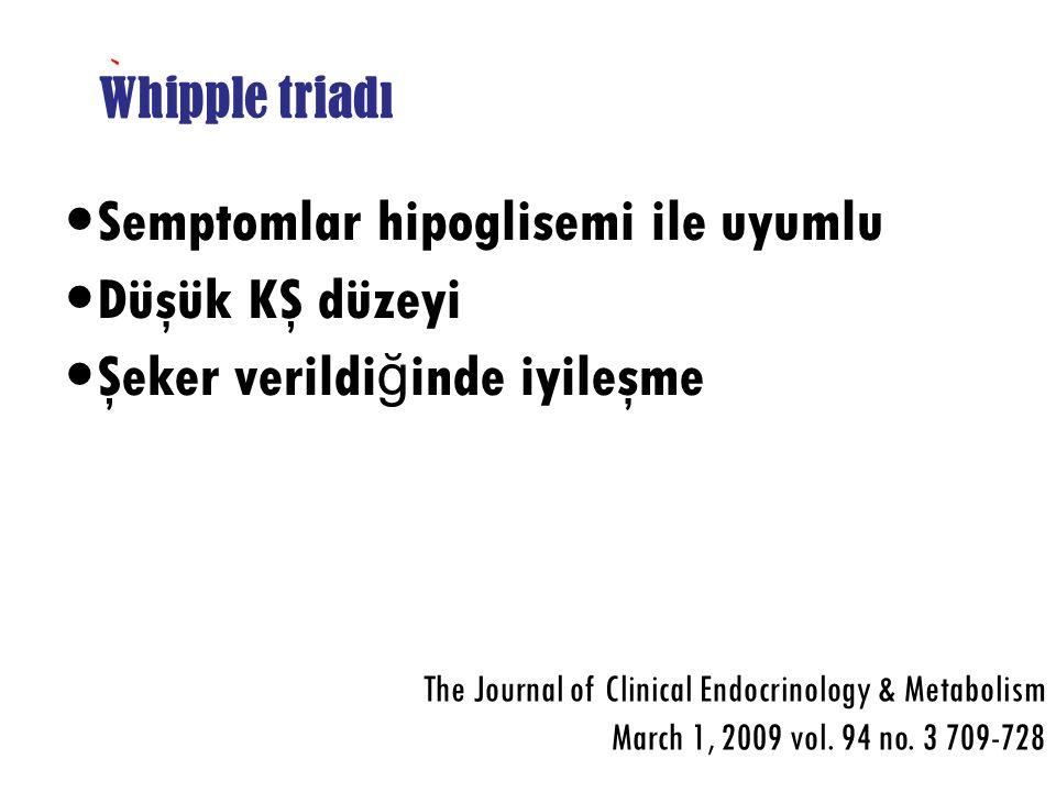 Semptomlar hipoglisemi ile uyumlu Düşük KŞ düzeyi