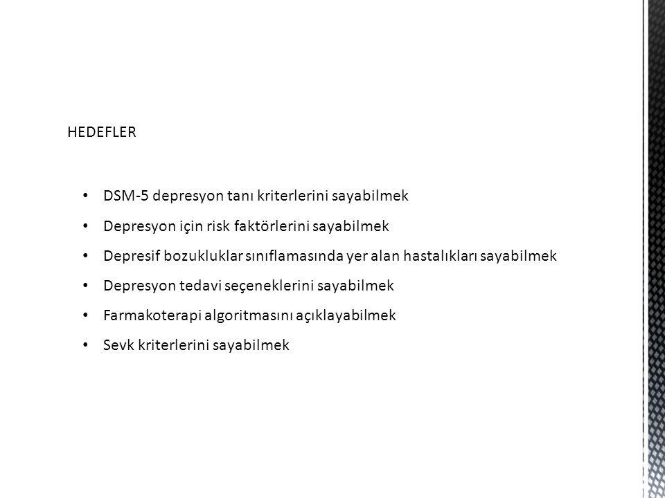 HEDEFLER DSM-5 depresyon tanı kriterlerini sayabilmek. Depresyon için risk faktörlerini sayabilmek.