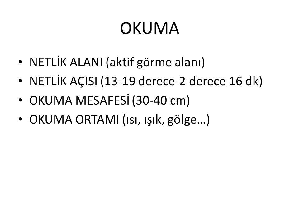 OKUMA NETLİK ALANI (aktif görme alanı)