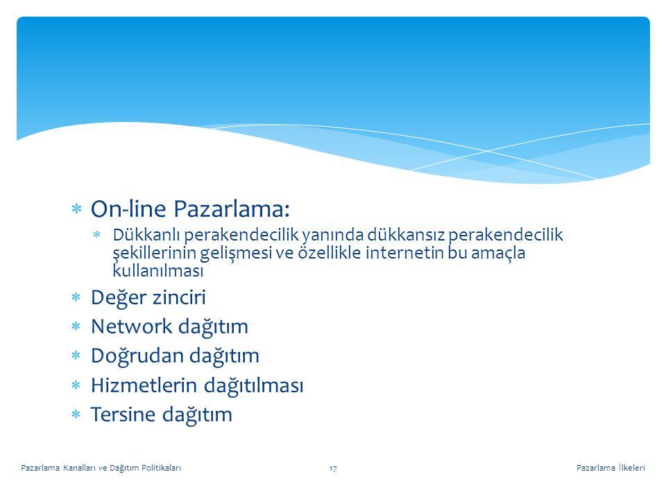 On-line Pazarlama: Değer zinciri Network dağıtım Doğrudan dağıtım