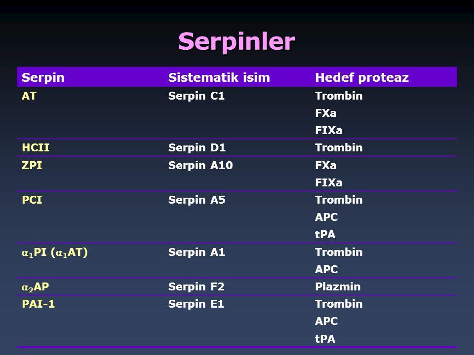 Serpinler Serpin Sistematik isim Hedef proteaz AT Serpin C1 Trombin