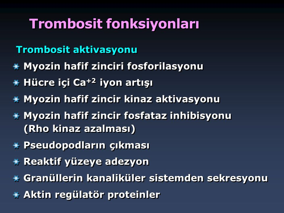 Trombosit fonksiyonları