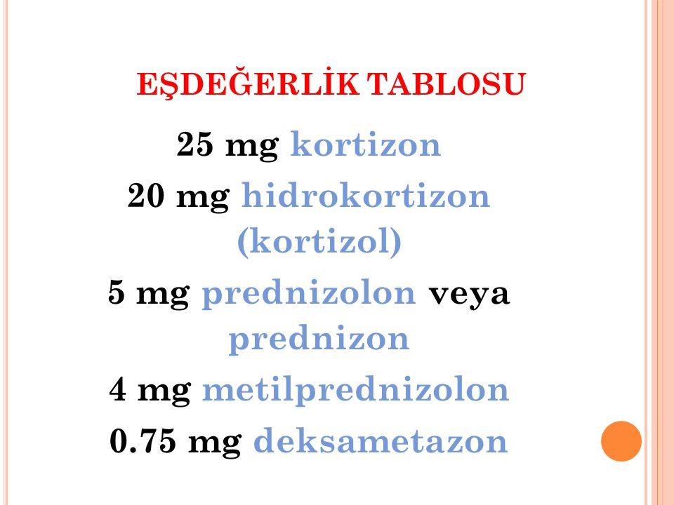20 mg hidrokortizon (kortizol) 5 mg prednizolon veya prednizon
