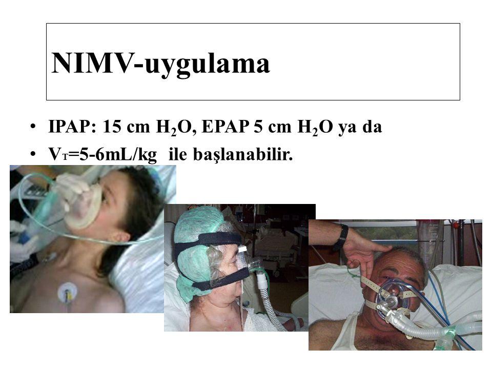 NIMV-uygulama IPAP: 15 cm H2O, EPAP 5 cm H2O ya da