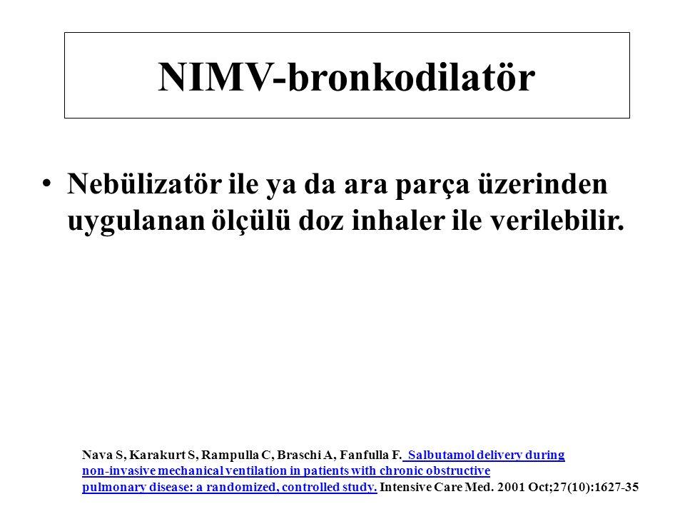 NIMV-bronkodilatör Nebülizatör ile ya da ara parça üzerinden uygulanan ölçülü doz inhaler ile verilebilir.