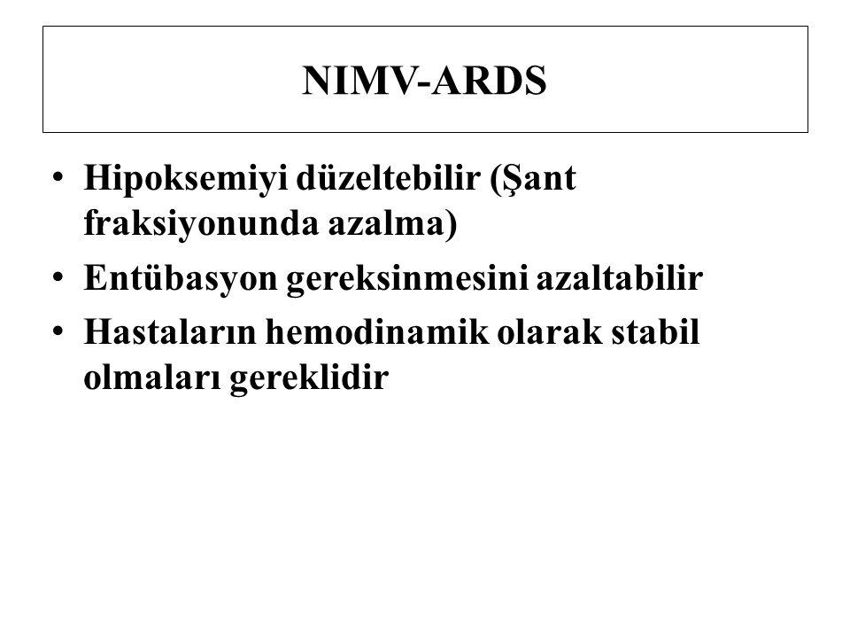 NIMV-ARDS Hipoksemiyi düzeltebilir (Şant fraksiyonunda azalma)