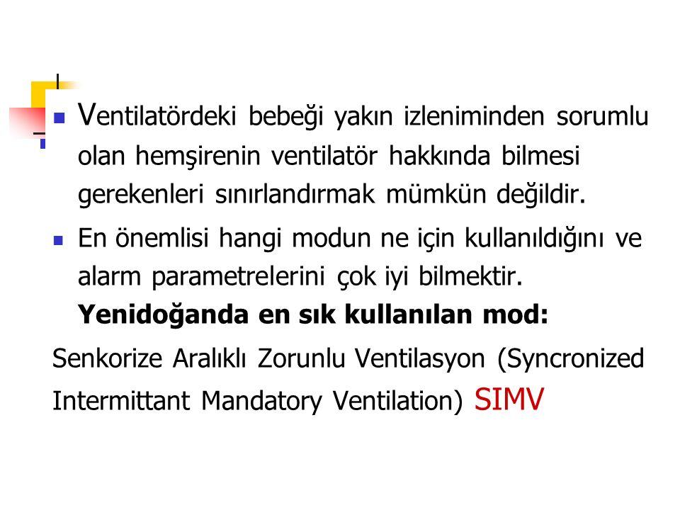 Ventilatördeki bebeği yakın izleniminden sorumlu olan hemşirenin ventilatör hakkında bilmesi gerekenleri sınırlandırmak mümkün değildir.