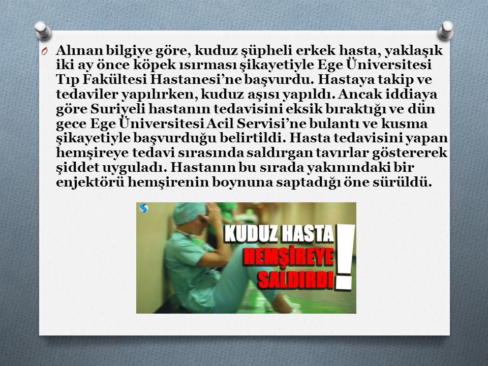 Alınan bilgiye göre, kuduz şüpheli erkek hasta, yaklaşık iki ay önce köpek ısırması şikayetiyle Ege Üniversitesi Tıp Fakültesi Hastanesi'ne başvurdu.