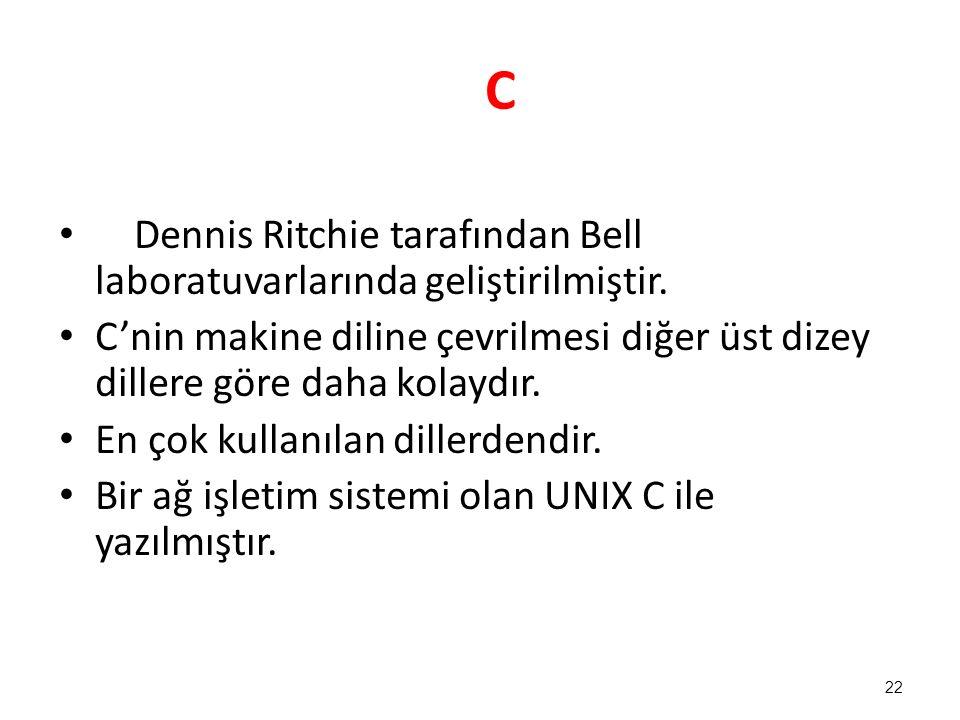 C Dennis Ritchie tarafından Bell laboratuvarlarında geliştirilmiştir.