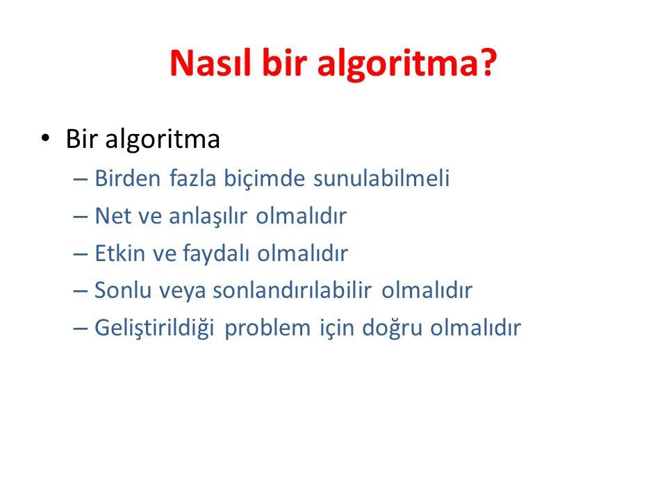 Nasıl bir algoritma Bir algoritma Birden fazla biçimde sunulabilmeli
