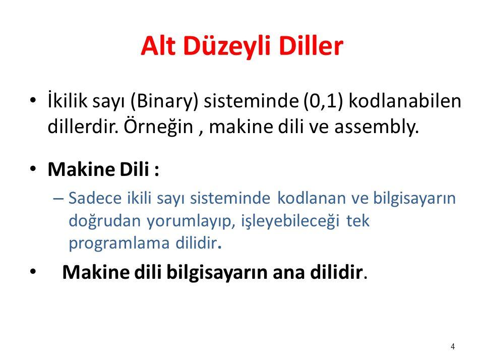 Alt Düzeyli Diller İkilik sayı (Binary) sisteminde (0,1) kodlanabilen dillerdir. Örneğin , makine dili ve assembly.
