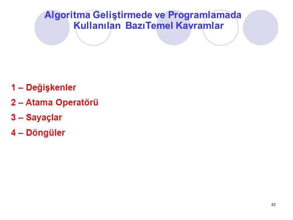 Algoritma Geliştirmede ve Programlamada Kullanılan BazıTemel Kavramlar