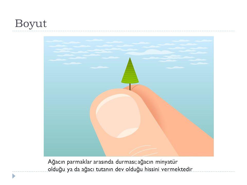 Boyut Ağacın parmaklar arasında durması; ağacın minyatür