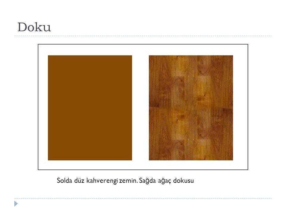 Doku Solda düz kahverengi zemin. Sağda ağaç dokusu