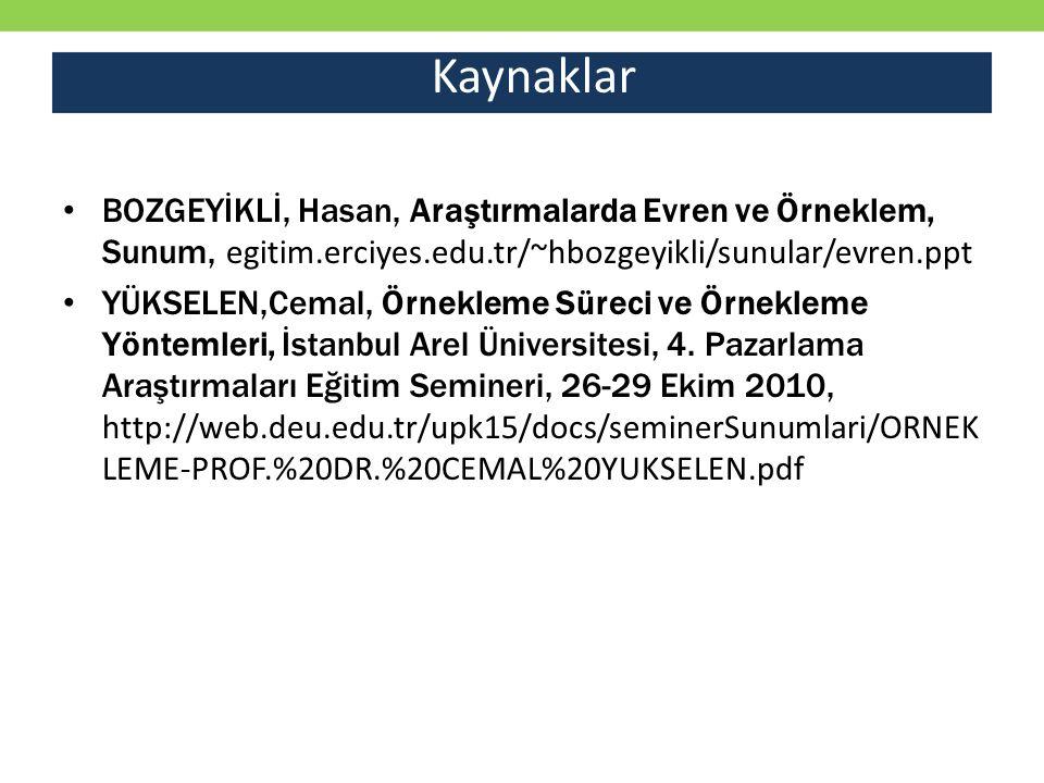 Kaynaklar BOZGEYİKLİ, Hasan, Araştırmalarda Evren ve Örneklem, Sunum, egitim.erciyes.edu.tr/~hbozgeyikli/sunular/evren.ppt.