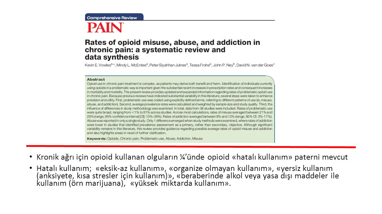 Kronik ağrı için opioid kullanan olguların ¼'ünde opioid «hatalı kullanım» paterni mevcut