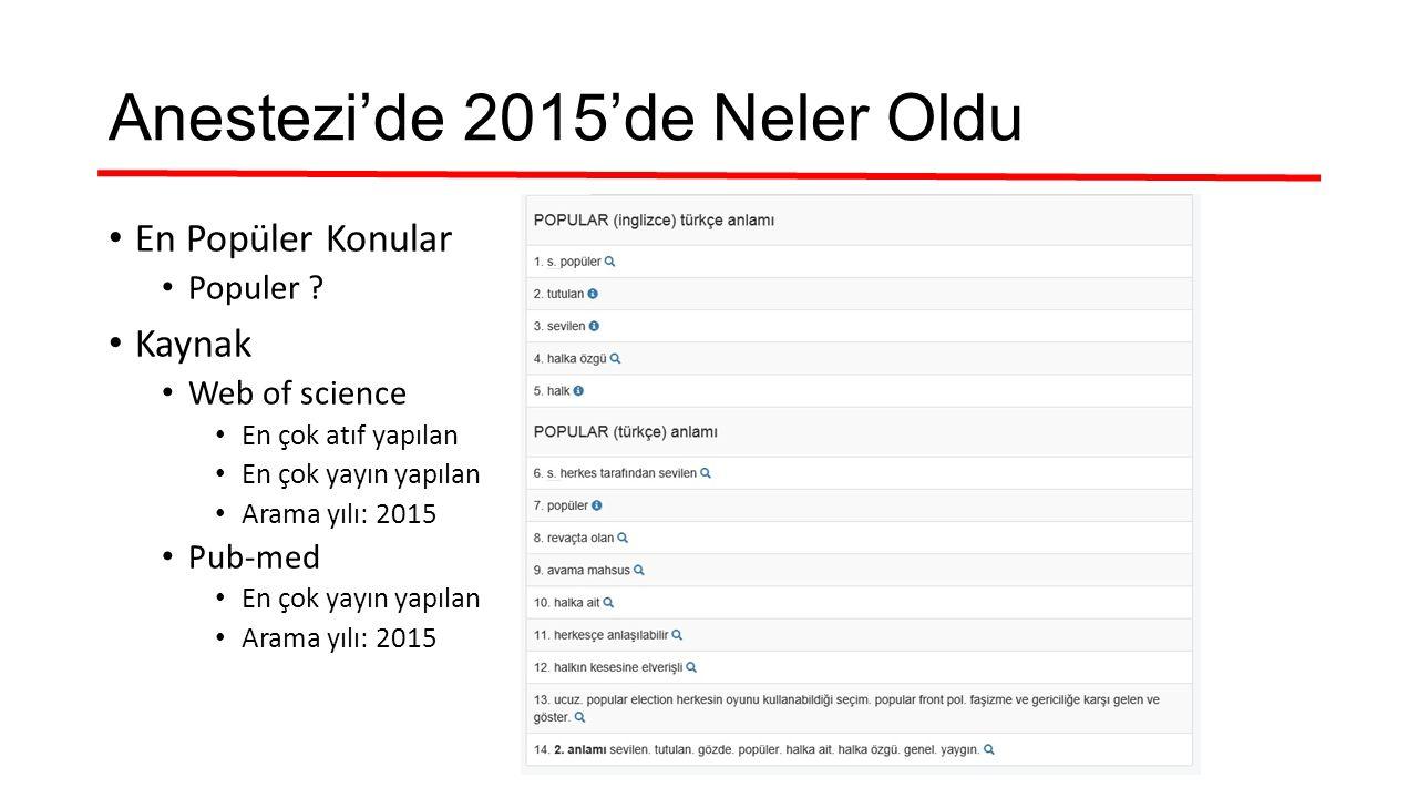 Anestezi'de 2015'de Neler Oldu